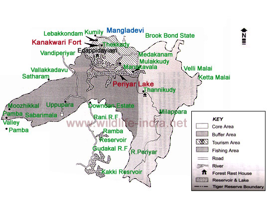 Map of Periyar Wildlife ToursPeriyar India MapMaps of Periyar